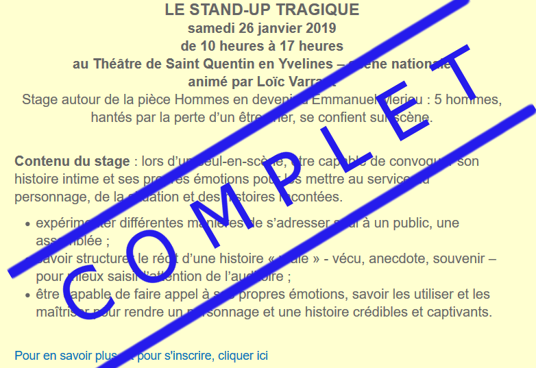 stage standup complet